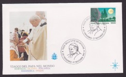 Voyage Jean Paul II - 1989/1990 - Enveloppe Illustrée - Pausen