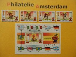 Uganda 1981, WORLD CUP SPAIN 82 / FOOTBALL SOCCER VOETBAL FUSSBALL FUTBOL CALCIO: Mi 310-13, + Bl. 30, ** - Coppa Del Mondo