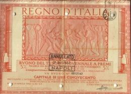 Documento Obbligazionario - Buoni Del Tesoro Novennali A Premi, - Azioni & Titoli