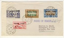 St Pierre Et Miquelon, 10-7-1942 Importante Lettera Per New York Con 4 Bolli Soprastampati France Libre FNFL - Poste Aérienne