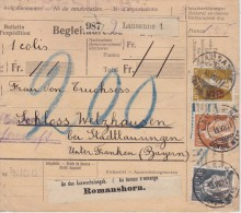 SUISSE 1921 RECEPISSE COLIS POSTAL DE LAUSANNE POUR LA BAVIERE - Schweiz