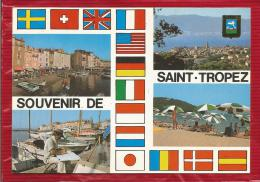 Souvenir De  SAINT TROPEZ  - Dépt 83  -  Multivues - Blason - CPSM - - Saint-Tropez