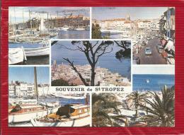SOUVENIR DE SAINT TROPEZ  - Dépt 83  -  Multivues - CPSM - Effet Toilé - Saint-Tropez