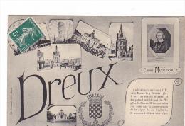 25216 DREUX  Nom Multivues Multi Vues Clement Metezeau Architecte- Ed Foucault -souvenir Bonjour Blason - Dreux