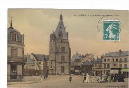 25218 DREUX Statue De Jean Rotrou Theatre - Restaurant Café Maraichers -ed Foucault -colorisée - Dreux