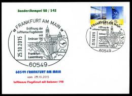 92412) BRD - Karte - SoST 20/345 - 60549 FRANKFURT AM MAIN Vom 25.10.2015 - LH Flugdienst Luxemburg, Embraer 190, Kirche - [7] Federal Republic