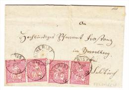 Heimat SO Biberist 01.06 (1868) 4x10Rp. Sitzende Auf Brief Nach Feldkirch AT - Oblitérés