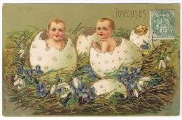 CARTE GAUFFREE JOYEUSES PAQUES BEBES - Easter