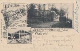 Litho Gruss Aus Der Gartenwirtschaft Waldeck S/w Gelaufen 1.6.99 - Elsass