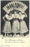 Cpa Fantaisie : Bonne Année, éventail, 3 Femmes En Robes - Fantaisies