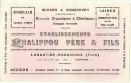 Buvard : Etablissements CHALIPPOU PERE & FILS à LABASTIDE-ROUAIROUX (TARN) & BEZIERS - LAINES ET BOURRETTES POUR - E