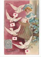 25229 Fantaisie, Lettre  Pigeon Colombe Femme Fourure Myosotis Balcon-relief - Ed ? - Fantaisies