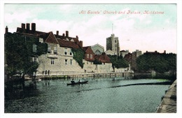 RB 1068 - Early Postcard - All Saints' Church & Palace - Maidstone Kent - England