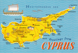 Greetings From Cyprus Map Karte Touristical Map - Landkaarten