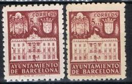 Dos Sellos Recargo Ayuntamiento Barcelona, Variedad Papel . Num 36 */** - Barcelone