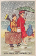 Greetings From Belgium Antwerp Antwerpen Anvers Old Leporello Suitcase Postcard Tourists Bad Weather Humour - Humor