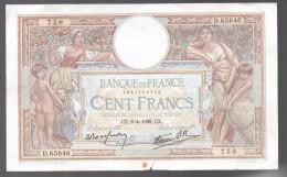 FRANCIA - FRANCE = 100 Francs 1939 Pequeña Rotura  P-94 - 1871-1952 Antiguos Francos Circulantes En El XX Siglo