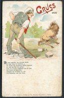 Germany Gruss Aus Lion Postcard - Satirical