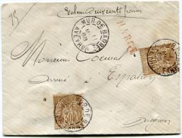 FRANCE LETTRE CHARGEE AFFRANCHIE AVEC 2 N°80 DEPART MUR DE BARRE 11 MARS 88 AVEYRON POUR LA FRANCE - Marcophilie (Lettres)