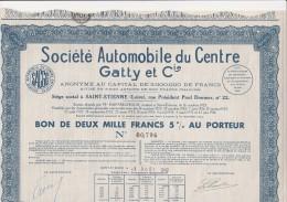 BON DE 2000 FRS -5 % - SOCIETE AUTOMOBILE DU CENTRE GATTY ET CIE -1942 - Automobile