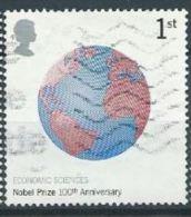 GB 2001 Nobel Prizes: Globe (Economic Sciences)  1 St  SG 2233 SC 1994 MI 1955 YV 2275 - 1952-.... (Elizabeth II)