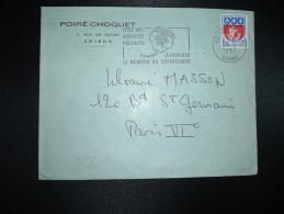 LETTRE TP BLASON DE PARIS 0,30 OBL.MEC.20-9-1967 AMIENS RP (80) POIRE - CHOQUET + NUMERO DU DEPARTEMENT - Postmark Collection (Covers)