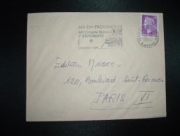LETTRE TP MARIANNE DE CHEFFER 0,30 OBL.MEC.14-3-1968 AIX EN PROVENCE PPAL (13) 60e CONGRES NATIONAL D'ESPERANTO PAQUES - Esperanto