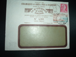 LETTRE TP MARIANNE DE MULLER 15F + ROYAN 10F OBL.22-7-1959 ST UZE DROME (26) CERAMIQUES ET GRES A FEU DU DAUPHINE - Porcelaine