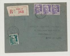 Recommandé, 6.1.1947, Gandon, Tarif à 14f - Enveloppe Entière  (R014) - Marcophilie (Lettres)