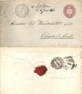 Tübli Brief 5  Herzogenbuchsee - Chaux-de-Fonds  (Bahnstempel)           1867 - Stamped Stationery