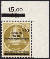 !a! BERLIN 1956 Mi. 155 MNH SINGLE From Upper Right Corner -Freedom Bell - [5] Berlin