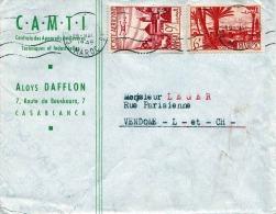 MAROC 1949 - 6 + 9 F Sondermarke Auf Firmenbrief V. Casablanca N. Vendome Schweiz - Marokko (1891-1956)