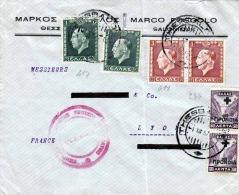 GREECE 1937 - 6 Fach Frankierung Zensur Auf Firmenbrief V. Salonique N. Lyon - Griechenland