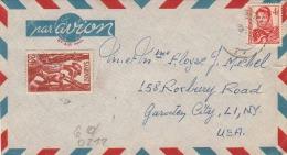 SAAR POST 1948 - 4 + 20 F Auf LP-Brief V.Saar N. New York - 1947-56 Allierte Besetzung