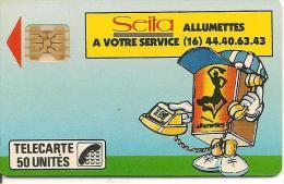 CARTE°-PUCE-PRIVEE-D-50U-D104-SC4Ob-1989-SEITA-ALLUMETTES-V°6 Impacts 811277-Utilisé-R°TBE-V° Pt Marque Blanche En Bas - France