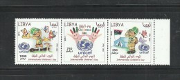 2014 - Libya -International Children's Day -Batterflies- UNICEF-Strip Of 3 Stamps - Complete Set MNH- RARE - Libia