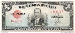 """1949 - 1 PESO # A694569B  - RARE - """" LA REPUBLICA """" ESCARCE  ( SCARCE ) - Cuba"""