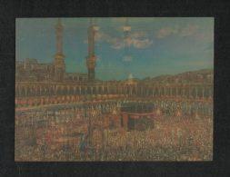 Saudi Arabia 3 D Picture Postcard Holy Mosque Ka´aba Mecca Plastic Night Scene View Card - Arabie Saoudite