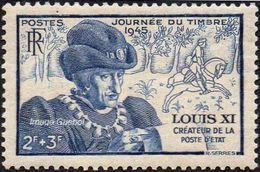 France N°  743 ** Journée Du Timbre 45 - Louis XI - Roi De France - Bois Cheval Cavalier - Neufs