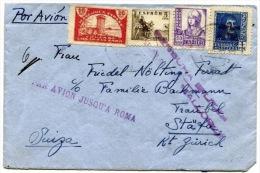 España 1937. Correo Aereo De Palma De Mallorca A Zurich. Censura. - Marcas De Censura Nacional
