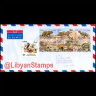 LIBYA 2013 Dinosaurs Fossils King Idris Omar Mukhtar (Travelled Cover) - Libye