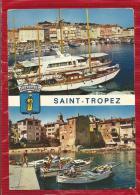 """SAINT TROPEZ  - Dépt 83  -  Multivues  : Le Port Des Yachts & Le Port Des Pêcheurs """"la Pouncho"""" - Blason - CPSM - Saint-Tropez"""