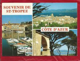 Souvenir De SAINT TROPEZ  - Dépt 83  - Multivues -  Blason - CPSM - Saint-Tropez