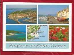 SAINT TROPEZ  - Dépt 83  -  Multivues  : Le Port, La Plage Des Salins - CPSM - - Saint-Tropez