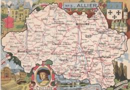 CPSM REPRESENTATION CARTE GEOGRAPHIQUE ALLIER - La Palisse, Vichy, Montluçon, Bourbon L'Archambault - Carte Geografiche