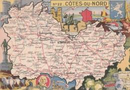 CPSM REPRESENTATION CARTE GEOGRAPHIQUE COTES DU NORD - La Bourdonnais, Cidre Choux Fleur, Beurre, Poissons, Cap Fréhel, - Maps