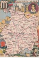 CPSM REPRESENTATION CARTE GEOGRAPHIQUE ILLE ET VILAINE - Chateaubriand, Jacques Cartier, St Malo, Vitré, - Maps