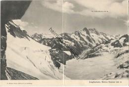 Jungfraubahn - Station Eismeer - Doppel-Ansichtskarte - Verlag P. Zengger Bazar Bellvue Kleine Scheidegg 1905 - BE Berne