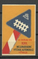 TSCHECHOSLOWAKEI 1930 Vignette Reklamemarken Automobil - Ausstellung Prag Praha MNH - Cecoslovacchia