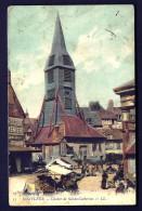 CPA ANCIENNE- FRANCE- HONFLEUR (14)- CLOCHER DE STE-CATHERINE ET LA PLACE UN JOUR E MARCHÉ-  ANIMATION GROS PLAN - Honfleur